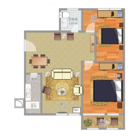 乐居苑小区2室1厅1卫1厨57.00㎡户型图