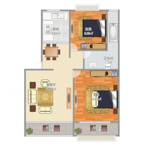 大华锦绣华城第9街区2室1厅1卫1厨95.00㎡户型图