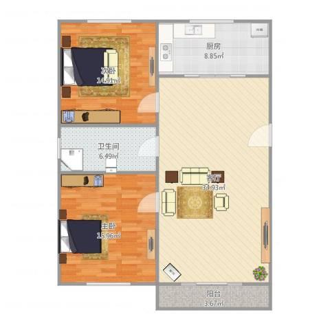 龙博公寓2室1厅1卫1厨113.00㎡户型图