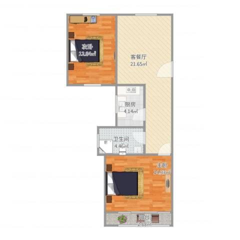 仙逸小区2室1厅1卫1厨81.00㎡户型图