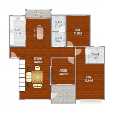 金色池塘3室2厅2卫1厨152.00㎡户型图