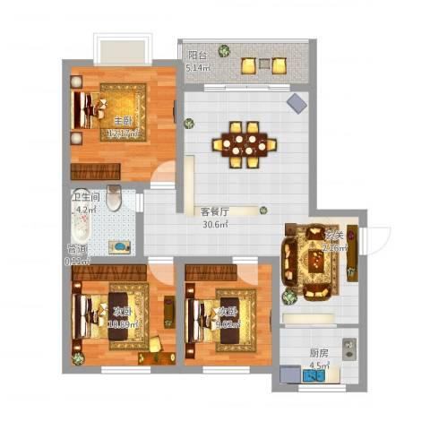 富雅锦园3室1厅1卫1厨110.00㎡户型图
