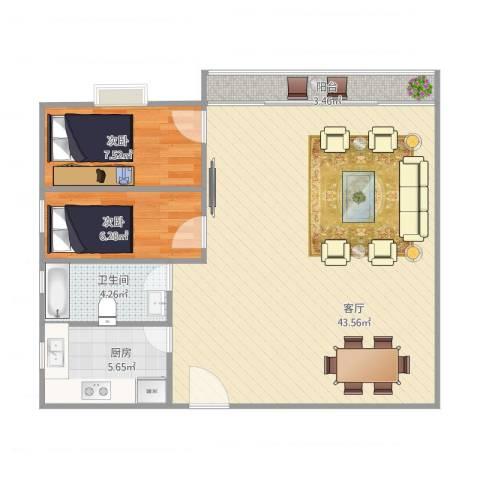 风度国际名苑2室1厅1卫1厨95.00㎡户型图