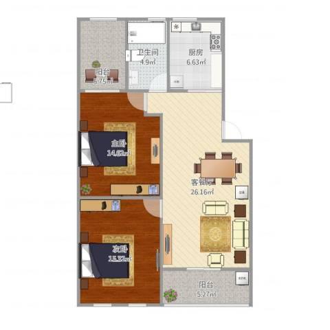 珠江花园2室1厅1卫1厨106.00㎡户型图