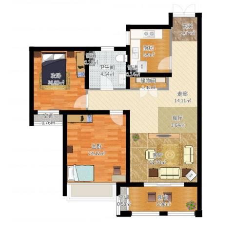 尼德兰花园二期2室1厅1卫1厨110.00㎡户型图