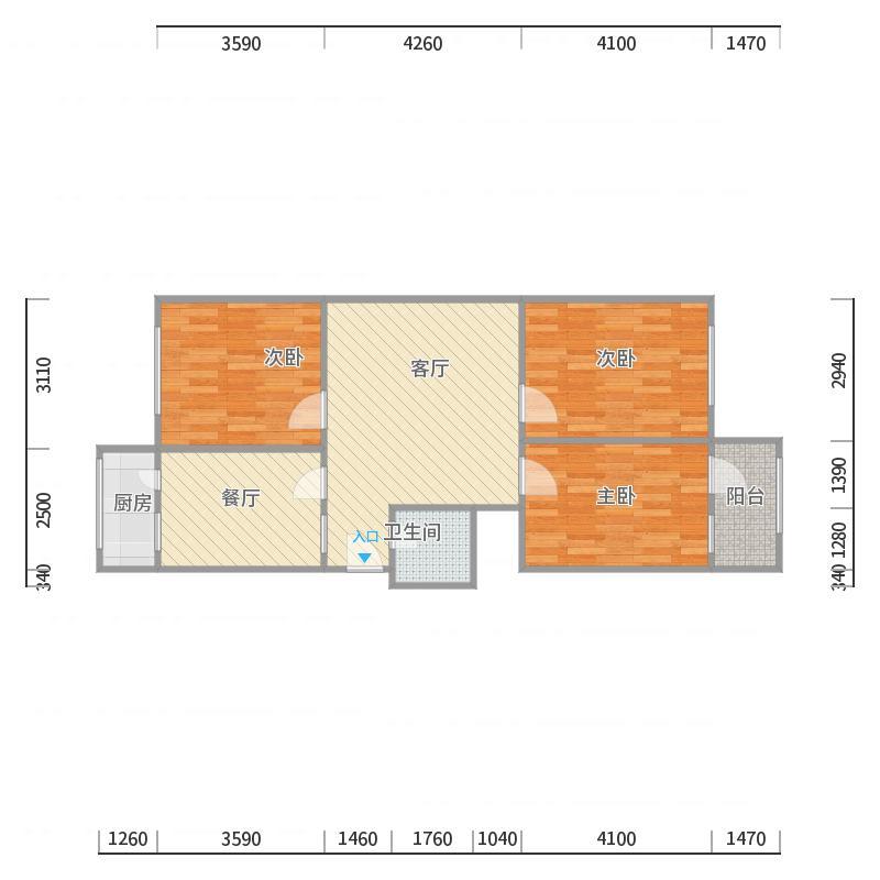 英雄山路单位宿舍3室2厅1卫