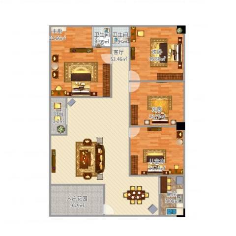 景湖春天4室1厅2卫1厨192.00㎡户型图
