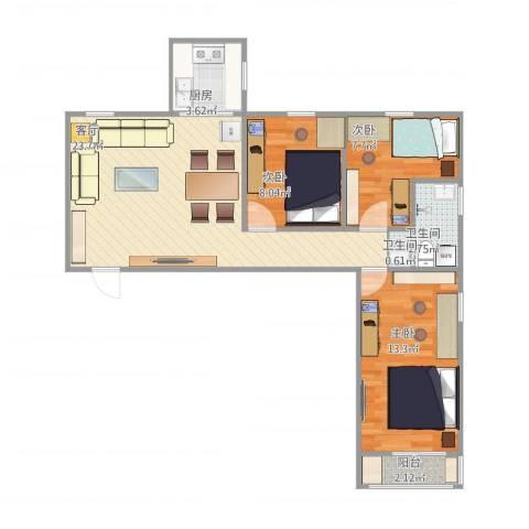 花园路3号院3室1厅2卫1厨84.00㎡户型图