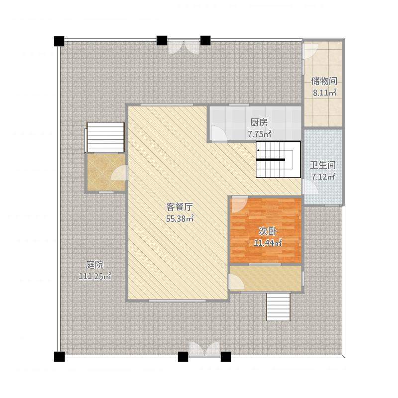 华泽-藤花斓苑-类独栋LD2户型图(一层)