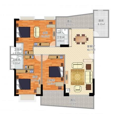 富逸上苑3室1厅3卫1厨184.00㎡户型图