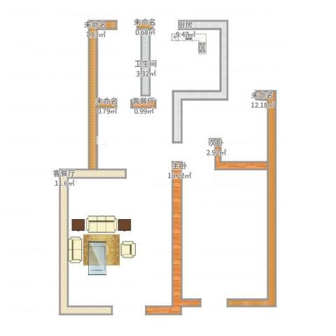 和谐园2室2厅1卫1厨116.00㎡户型图