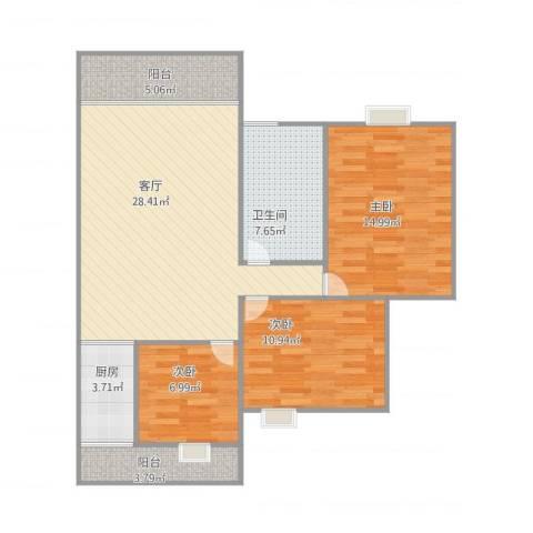 紫荆楼3室1厅1卫1厨110.00㎡户型图