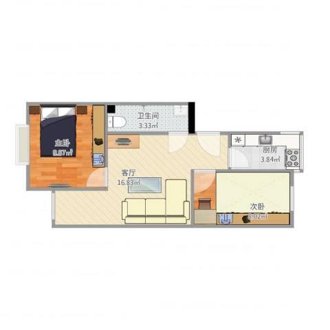 游泳场北路9号院2室1厅1卫1厨57.00㎡户型图