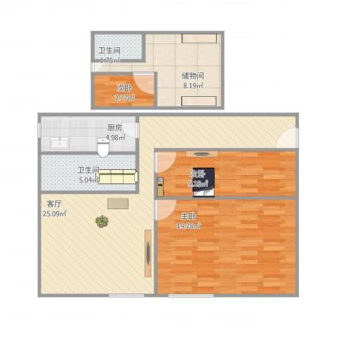 品新苑3室1厅2卫1厨104.00㎡户型图