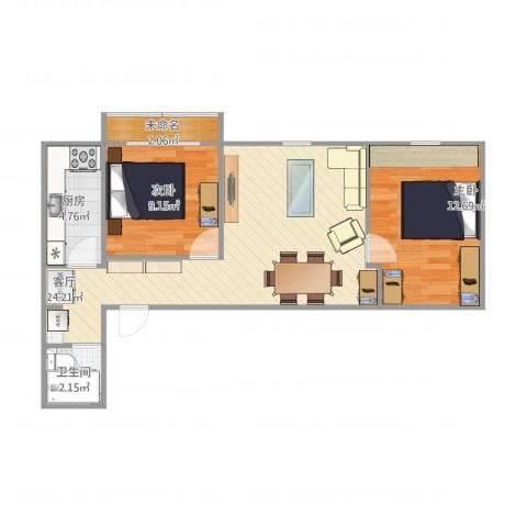 朝内南小街2室1厅1卫1厨75.00㎡户型图