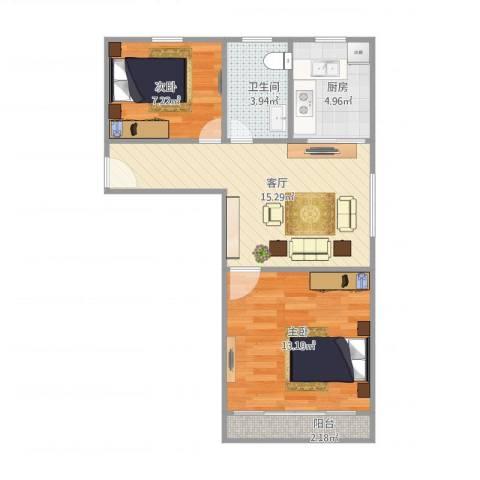 莲溪六村2室1厅1卫1厨64.00㎡户型图