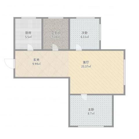 生辉第一城2室1厅1卫1厨69.00㎡户型图