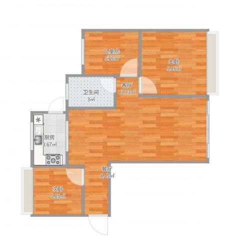 中楠时代花园3室1厅1卫1厨66.00㎡户型图