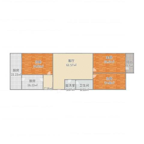 义堂小区3室2厅1卫2厨294.00㎡户型图