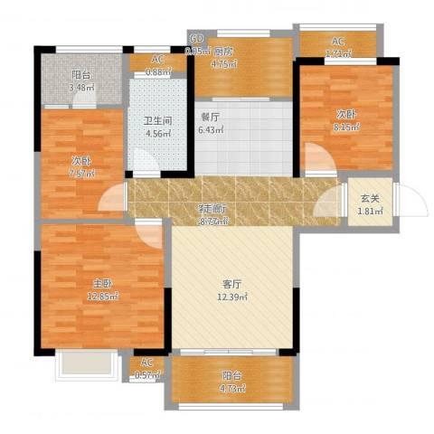 碧桂园欧洲城3室1厅1卫1厨112.00㎡户型图