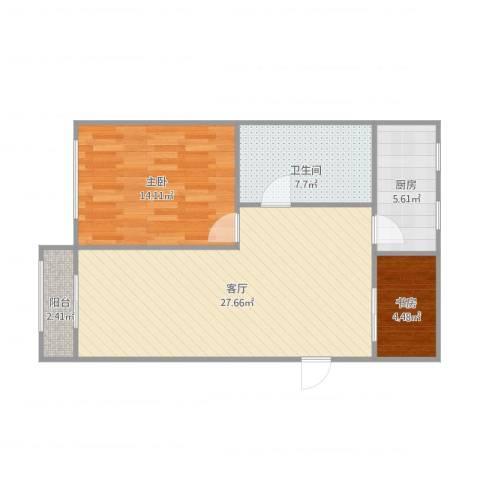 欧澜家园2室1厅1卫1厨83.00㎡户型图
