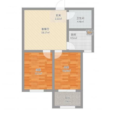 金玉豪庭2室1厅1卫1厨75.00㎡户型图