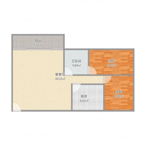 康怡花园2室1厅1卫1厨88.00㎡户型图