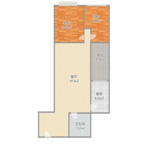 华天国际广场2室1厅1卫1厨132.00㎡户型图