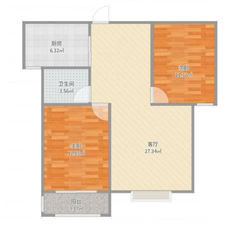 龙溪香岸2室1厅1卫1厨87.00㎡户型图
