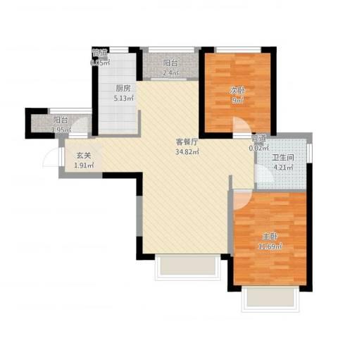 旺城温莎郡2室1厅2卫1厨92.00㎡户型图