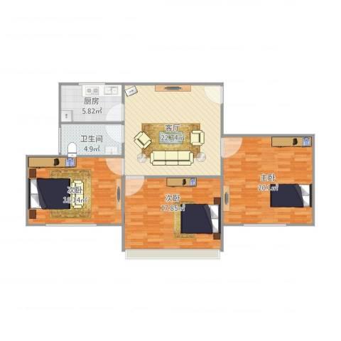 听潮六村3室1厅1卫1厨116.00㎡户型图