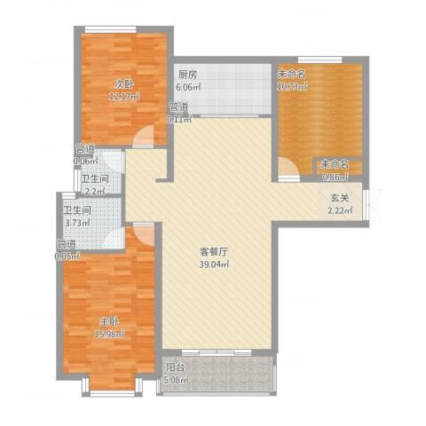 凯隆御景2室1厅2卫1厨136.00㎡户型图