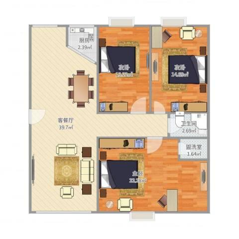 怡景丽苑3室2厅1卫1厨129.00㎡户型图
