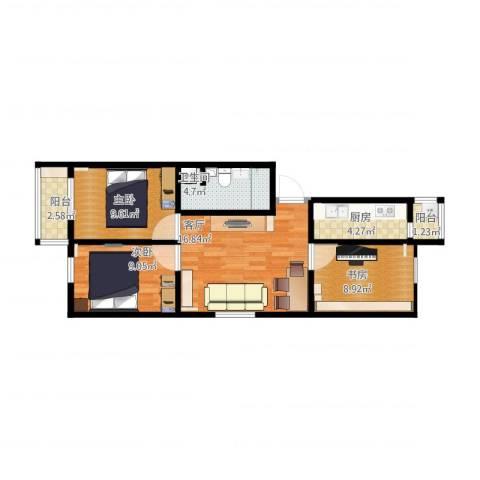 滨河西里北区3室1厅1卫1厨83.00㎡户型图