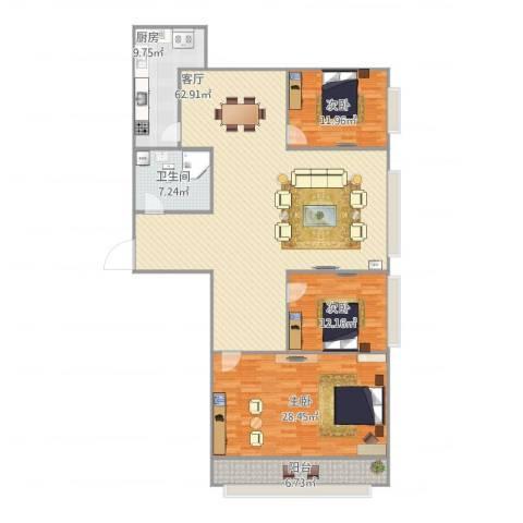 新华街六里3室1厅1卫1厨184.00㎡户型图