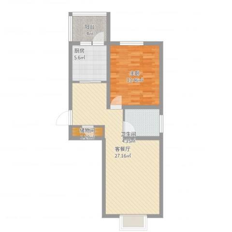 海逸长洲恋海园1室1厅1卫1厨64.33㎡户型图