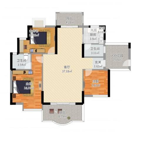 博罗新城建业・金域华府2室1厅2卫1厨144.00㎡户型图