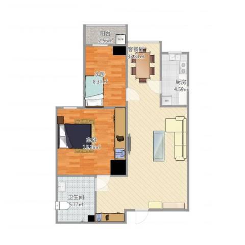 博文苑2室1厅1卫1厨96.00㎡户型图