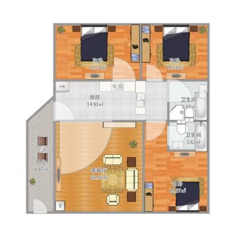 新怡村3室1厅2卫1厨138.00㎡户型图