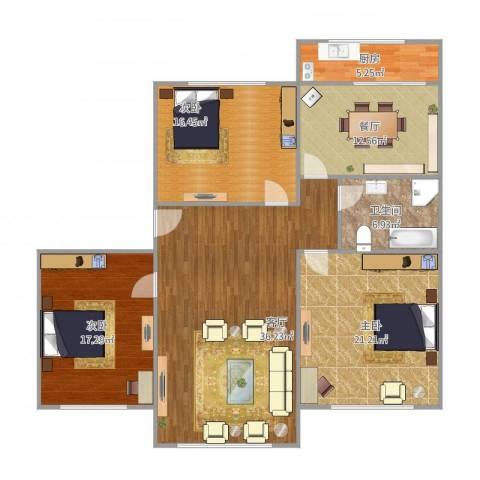 高志里3室2厅1卫1厨154.00㎡户型图