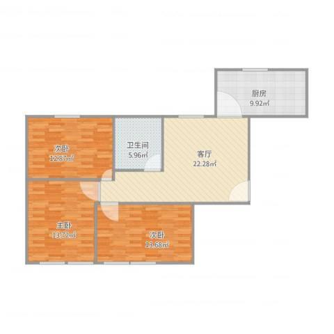 小沪春秋3室1厅1卫1厨105.00㎡户型图