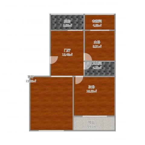 建鑫花园2室1厅1卫1厨90.75㎡户型图