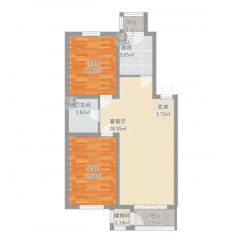 三江紫香园2室1厅3卫1厨97.00㎡户型图