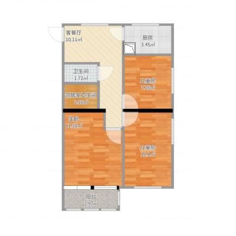 裕中西里3室1厅1卫1厨69.00㎡户型图