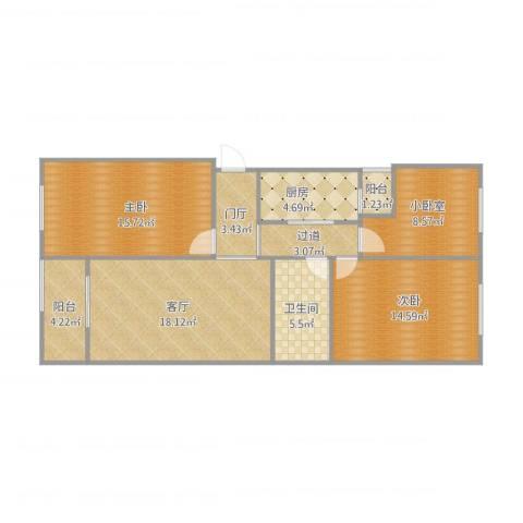 龙博苑一区8--7-3012室1厅1卫1厨107.00㎡户型图