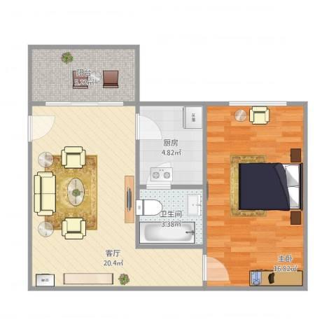 侨德花园1室1厅1卫1厨68.00㎡户型图