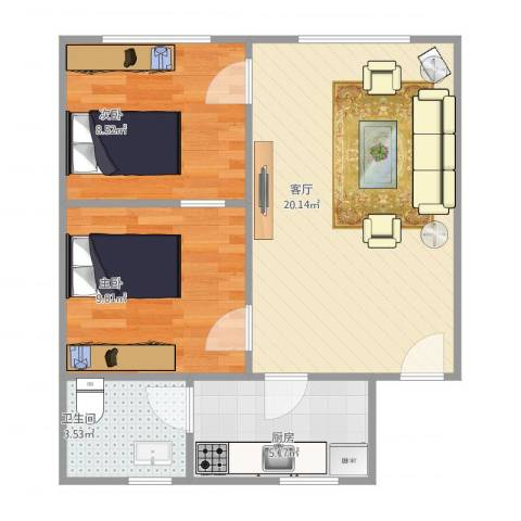 诚德大厦2室1厅1卫1厨62.00㎡户型图