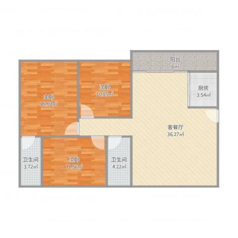 丽景楼3室1厅2卫1厨124.00㎡户型图