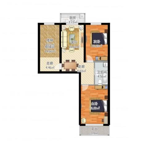 净馨家园2室1厅2卫2厨108.00㎡户型图