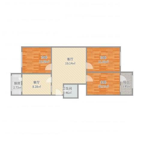 英雄山路单位宿舍3室2厅1卫3室2厅1卫1厨92.00㎡户型图
